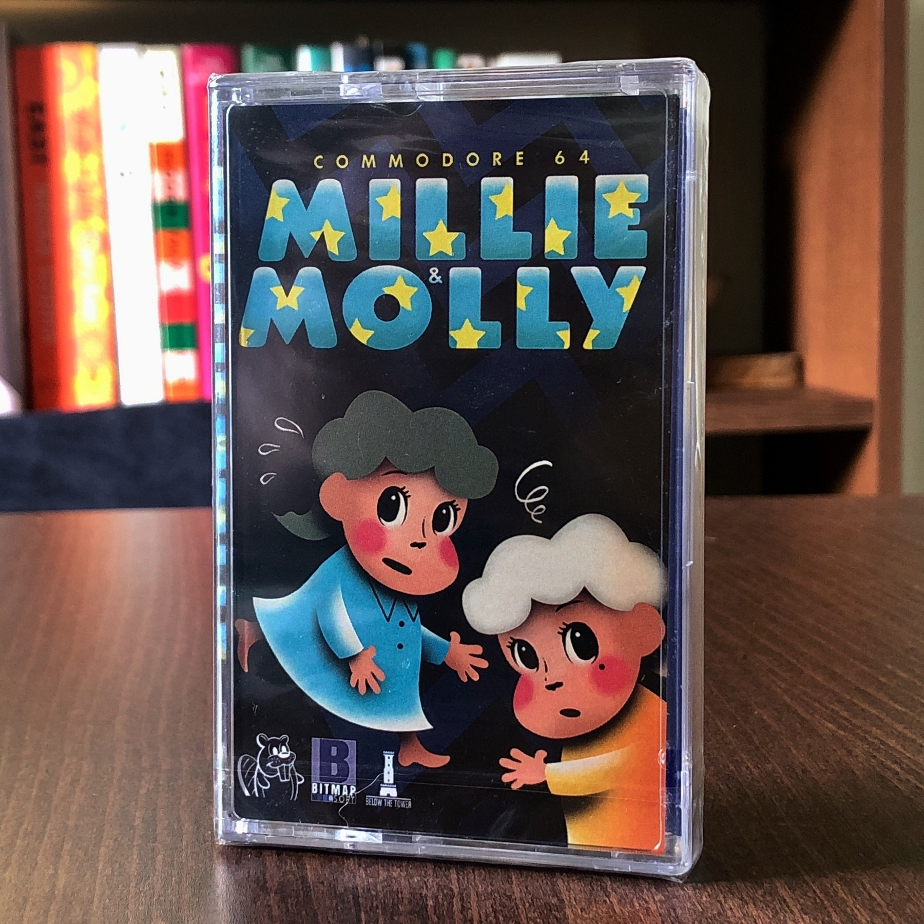 Commodore 64 cassette tape game Millie ans Molly with illustrated cover showing the main characters.