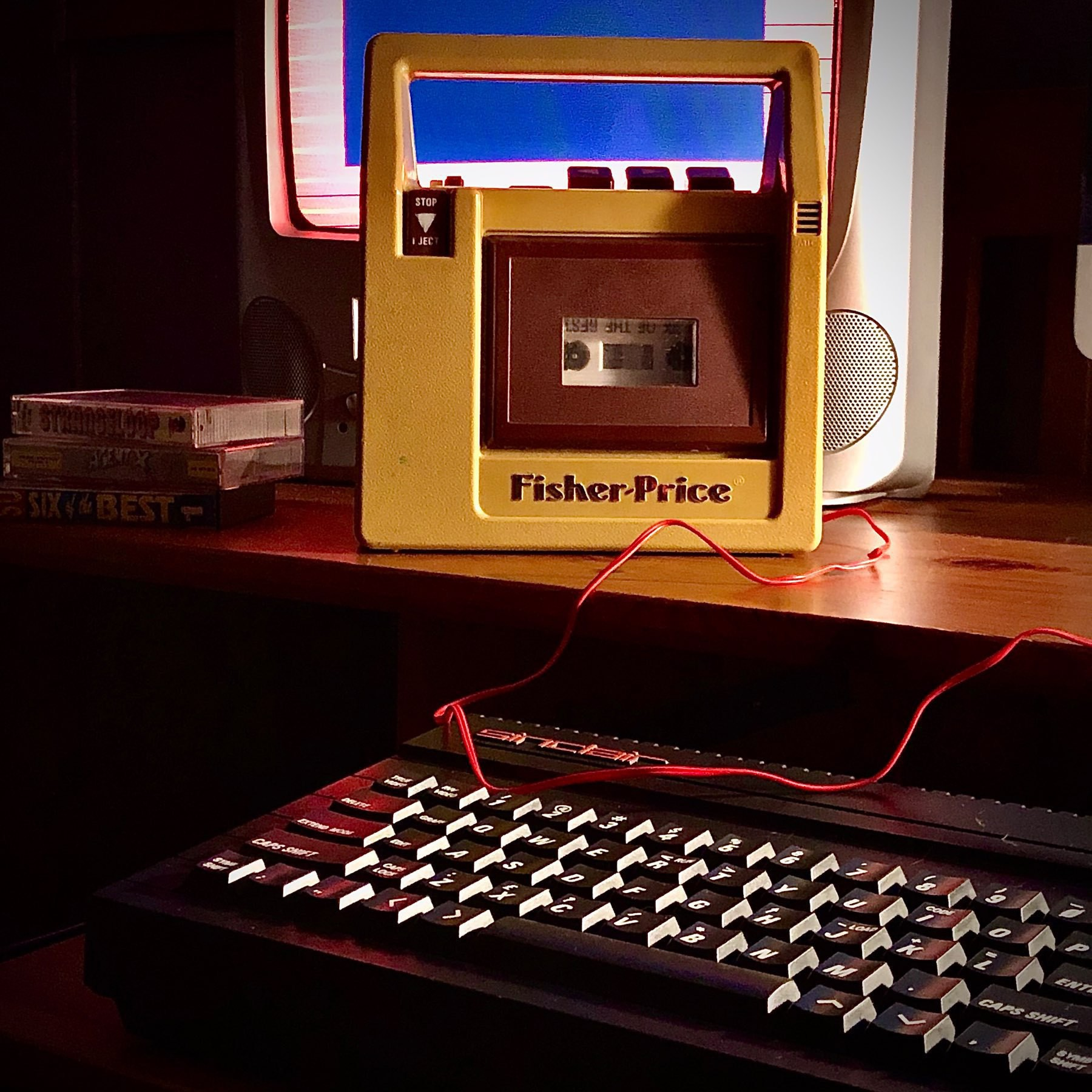 "Classic Fisher-Priceâ""¢ children's cassette recorder repurposed as a data tape loader for ZX Spectrum"