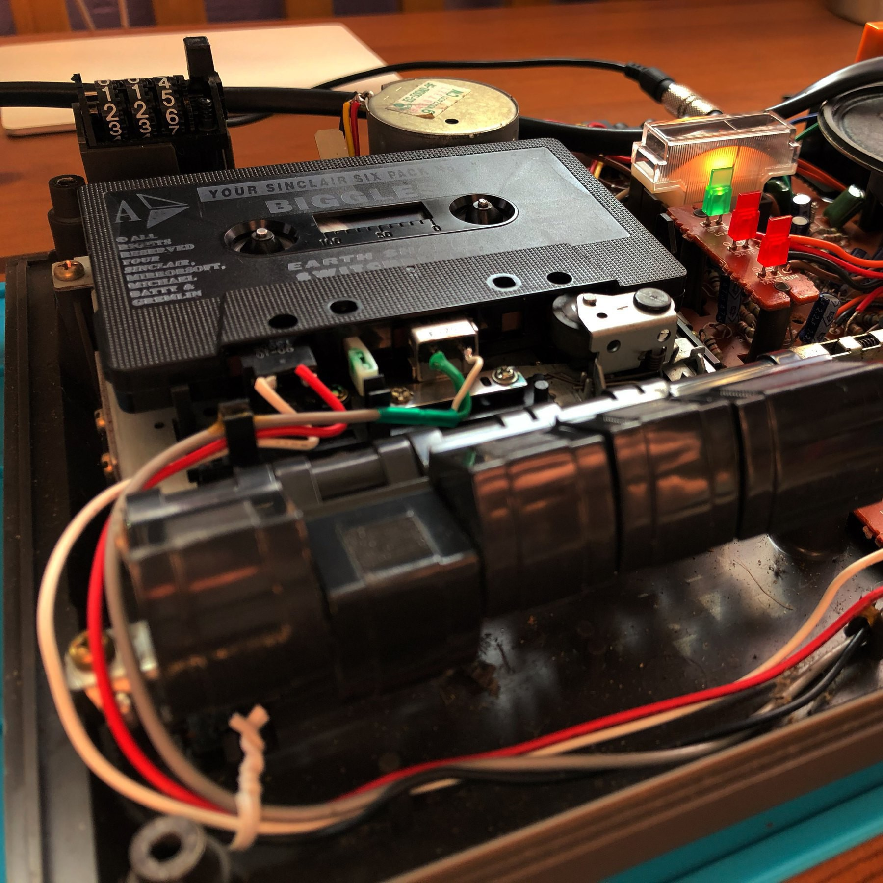 disassembled cassette player