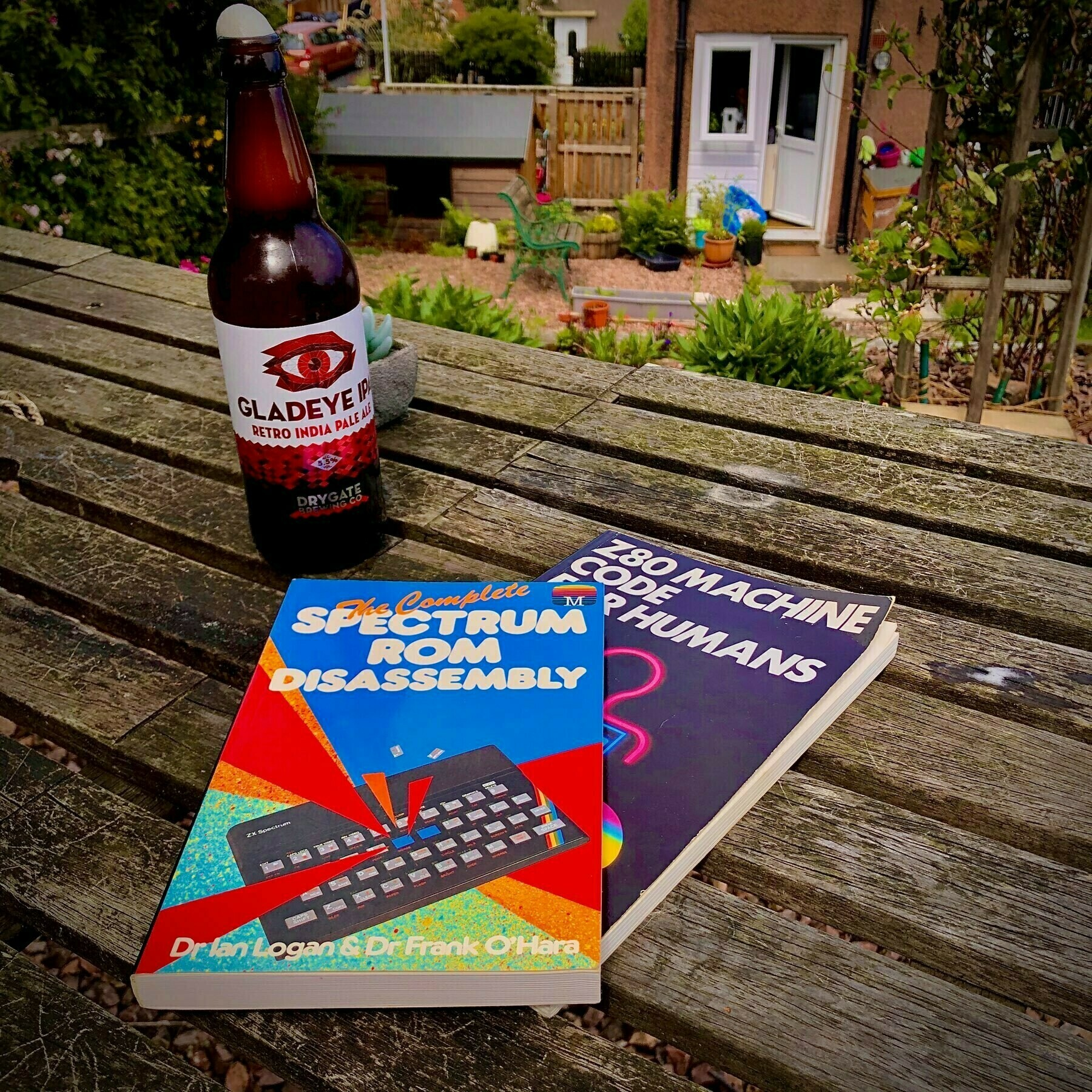 Bottle: Drygate Gladeye Retro IPA; Books: Z80 Machine Code for Humans, and The Complete Spectrum ROM Disassembly