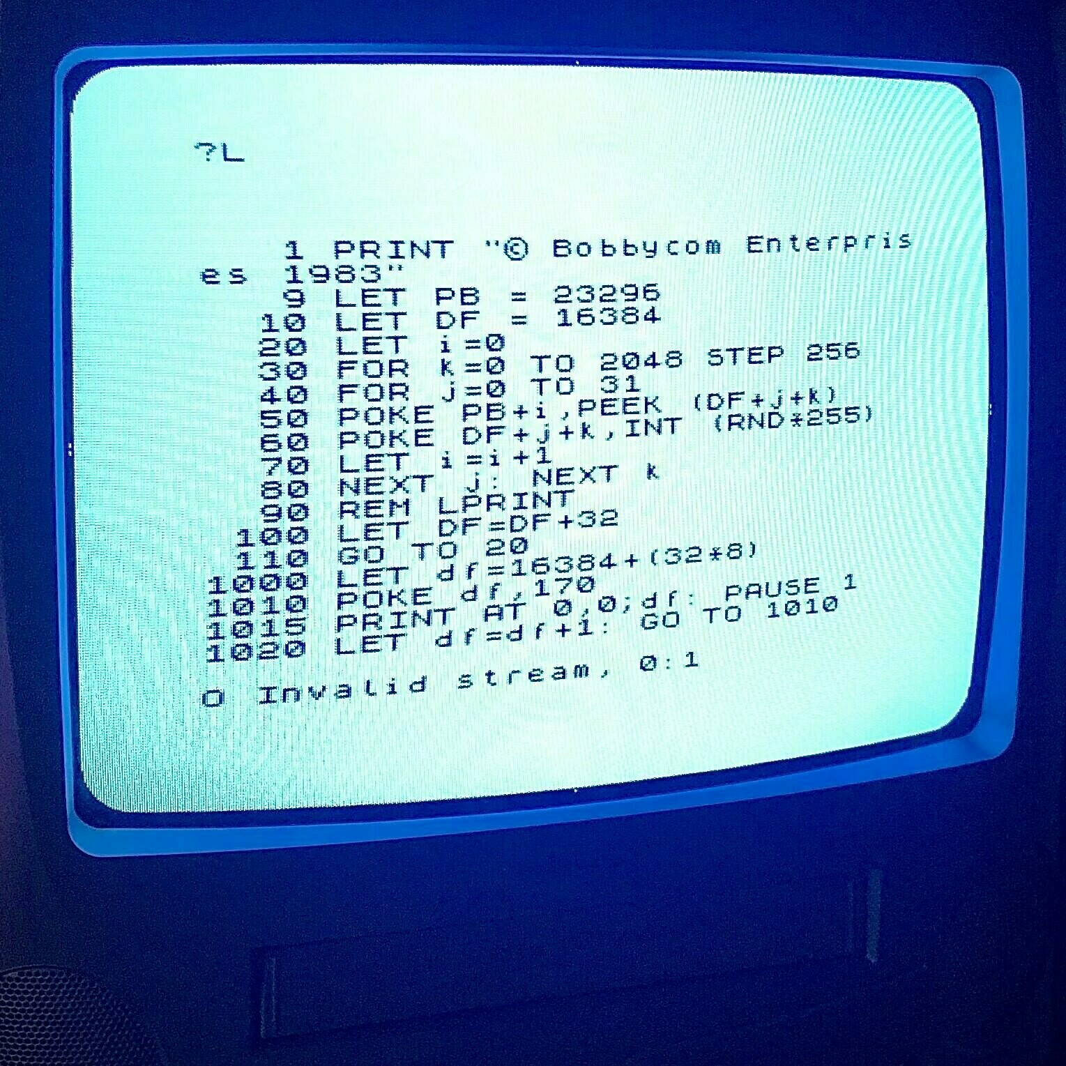 ZX Spectrum screenshot showing BASIC code listing