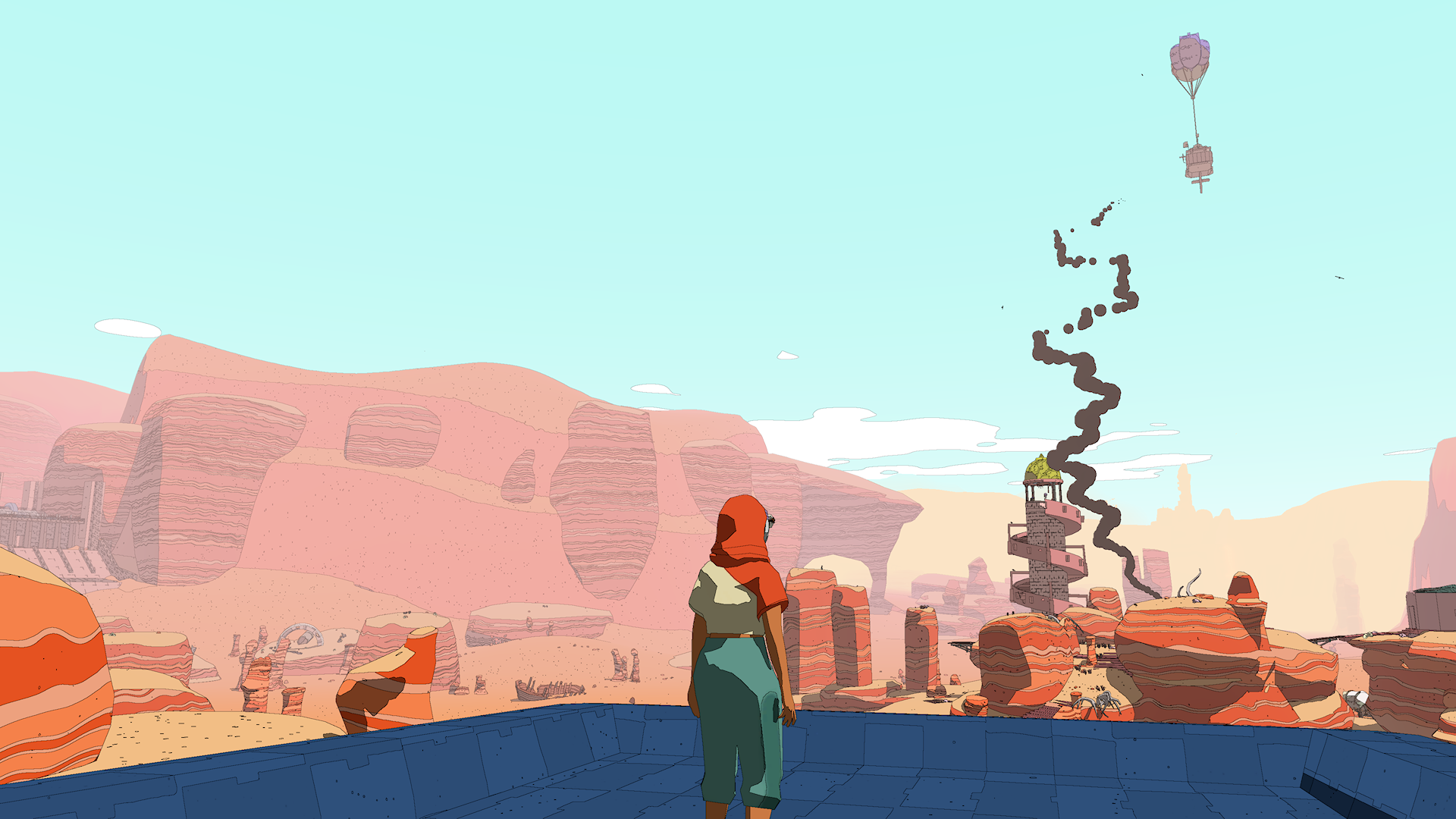 screenshot of Xbox game SABLE. the protagonist looks out over a rocky desert towards a small nomad camp