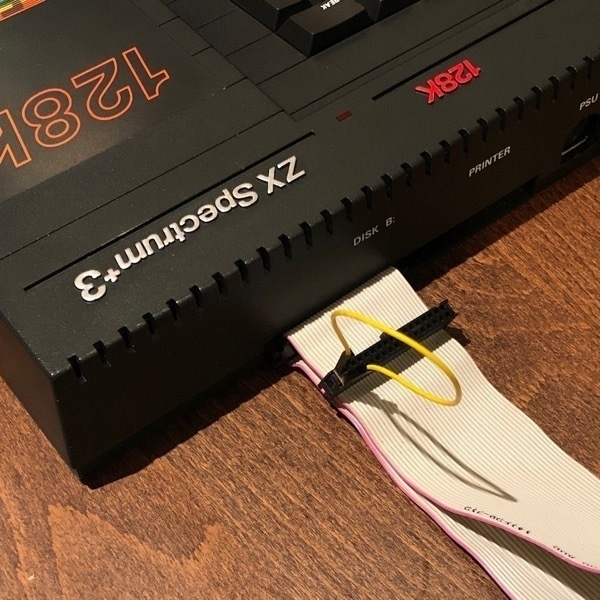 ZX Spectrum +3 with floppy cable inserted