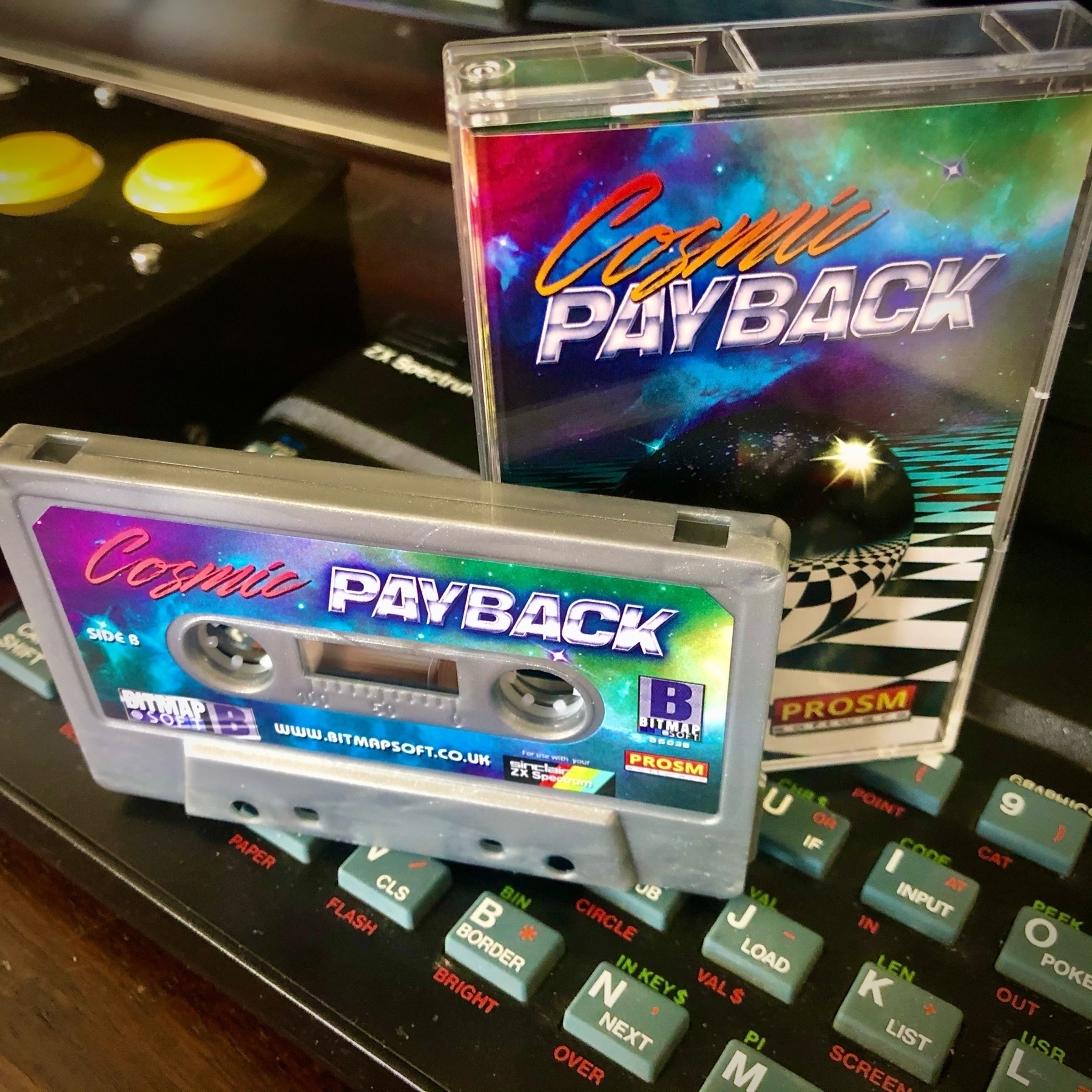ZX Spectrum game Cosmic Payback on cassette tape