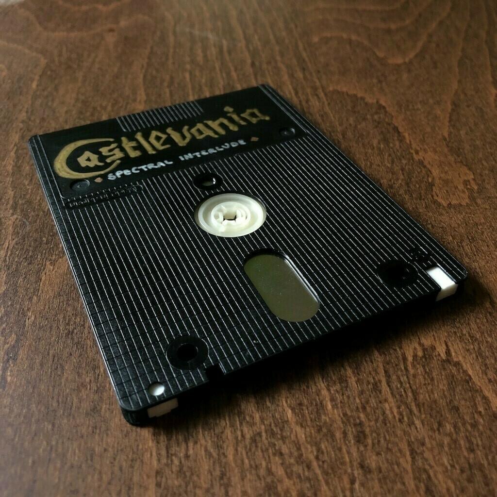 3-inch floppy disk with hand-drawn Castlevania logo