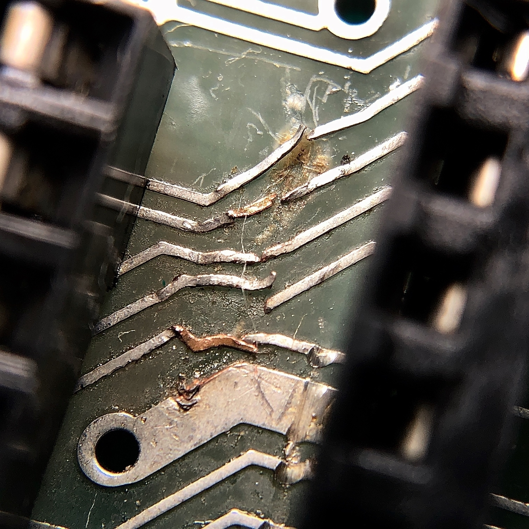 closeup of damaged electrical circuits